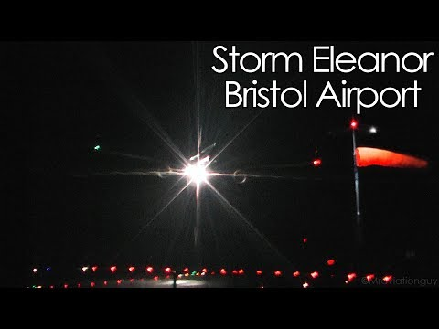 Storm Eleanor at Bristol Airport - Windy Landings including ATC of Go Arounds!