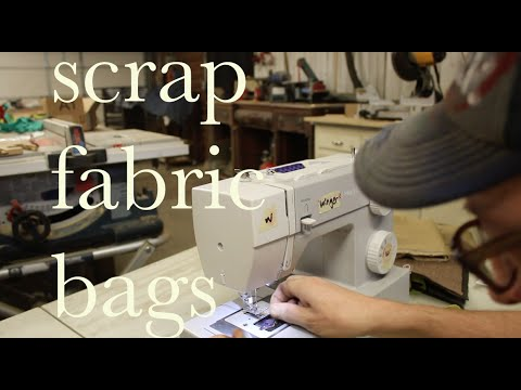 make shopping bags from scrap fabric (learning to sew)