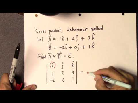 Cross product, determinant method