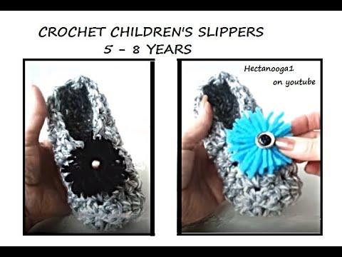 Crochet slippers, age 5 to 8, HOW TO CROCHET CHILDREN'S SLIPPERS