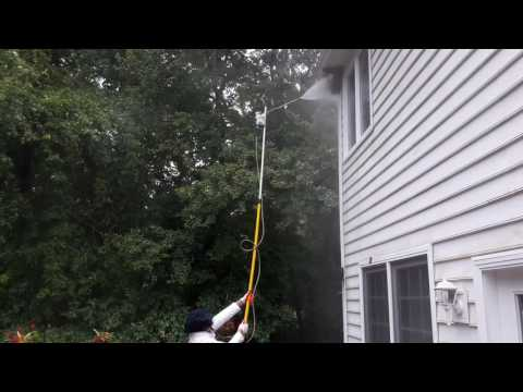Removing a Wasp Nest with pressure washer...