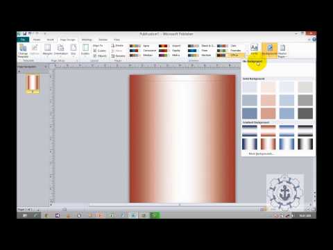 How to format the background in MS publisher 2010