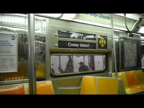 Coney Island Bound R68 (Q) Train Ride: 42nd Street-Times Square to 14th Street