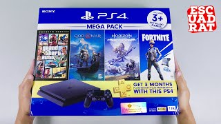Unboxing PS4 Slim Megapack 2 indonesia, Playstation 4 Slim 1TB CUH-2218B Jet Black HDR
