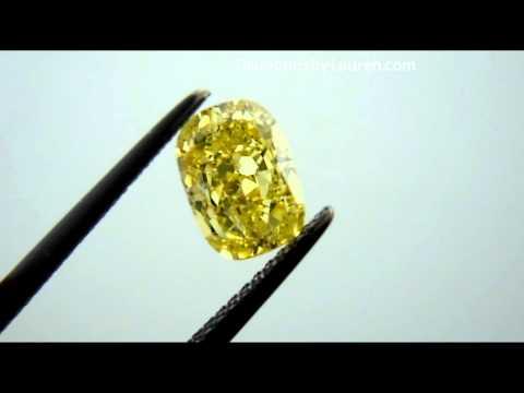 1.52ct  Fancy Vivid Yellow SI2 Cushion Diamond Three Stone Diamond Ring