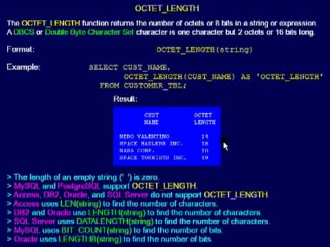 SQL 082 Numeric Scalar, OCTET_LENGTH or How many 8 bits in a string?