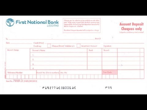 LS-How to fill Cheque Deposit slip of first National Bank Lesotho