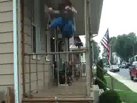 me jumping over porch railing