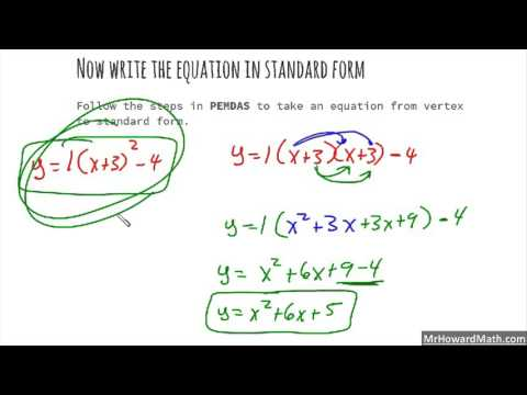 Writing Quadratic Functions Given the Vertex and Another Point