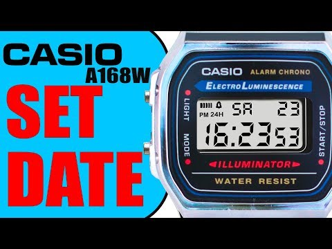 Casio A168 W How to set the DATE !! (90 seconds tutorial) in 4K