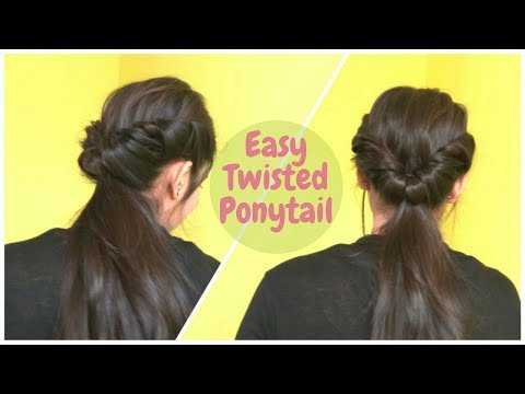 2 Min Easy Twisted Ponytail Hairstyle For Medium Hair | DIY Ponytails For School, College & Work