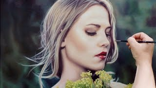 OIL PAINTING PORTRAIT DEMO ✦ REALISTIC ART VIDEO ✦ woman / flowers / sunlight by Isabelle Richard