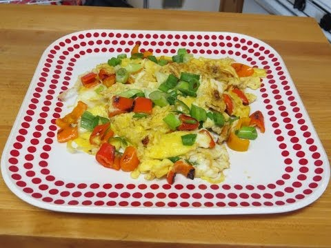 Scrambled Eggs and Sweet Peppers in my New Non-Stick Pan