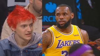 Ninja IMPRESSED By LeBron James & Lakers While Watching Courtside! Lakers vs Nets