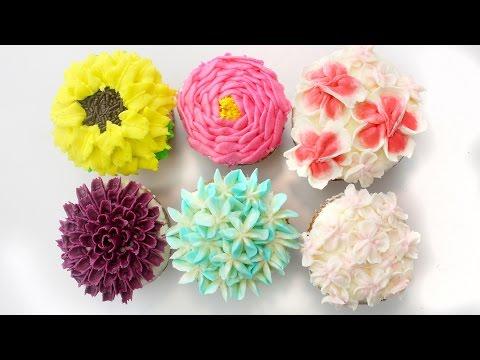 DIY Buttercream Flowers Tutorial | Cherry Blossom, Daisy, Hydrangea, Peony, Sunflower & Dahlia