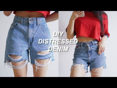 DIY DISTRESSED DENIM JEAN SHORTS | Recycle Denim Jeans | THATTOMMYGIRL