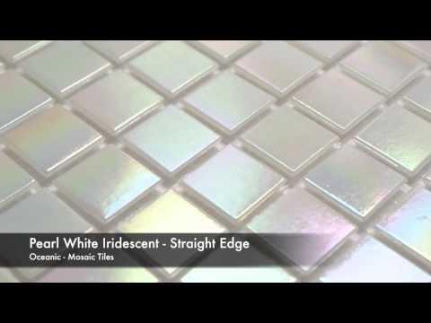 Pearl White Iridescent Striahgt Edge Mosaic Tile