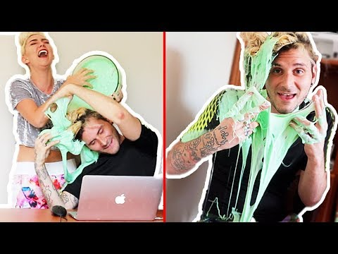 SLIME PRANK! POURING SLIME ON MY HUSBANDS HAIR! I RUINED HIS HAIR
