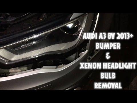 AUDI A3 2013 8V - FRONT BUMPER REMOVE AND XENON HEADLIGHT BULB REMOVAL D3S 6500k XENON BULB