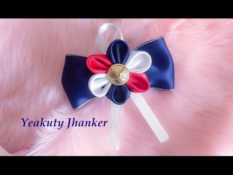 DIY: Kanzashi ribbon flower on a bow (Hair clip/Brooch)