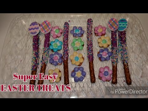 2 Super Easy Easter Treats.... Candy Covered Pretzel Rod & Chocolate Flower Pretzels