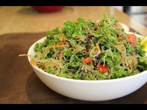 How to Make Raw Kelp Noodle Salad with Pesto