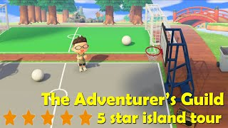 Animal Crossing 5 star island tour - basketball court, soccer field, outdoor diner - no time travel