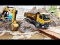 Driving Truck Trucks For Kids Backhoe Loader Excavator Work Under The River A336D