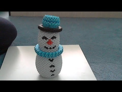 How to make 3d origami Snowman