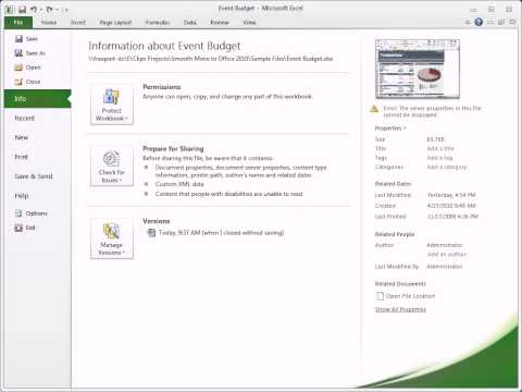 Excel 2010 | Restoring Unsaved Versions