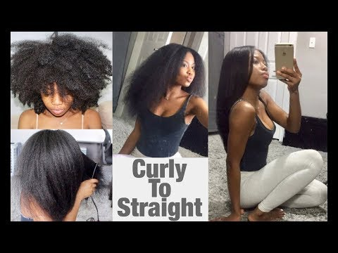 Curly to Straight Hair (SILKY straight- Updated Natural hair)