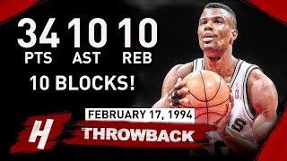 David Robinson EPIC Quadruple Double Full Highlights vs Pistons 1994.02.17 - MAKES HISTORY!