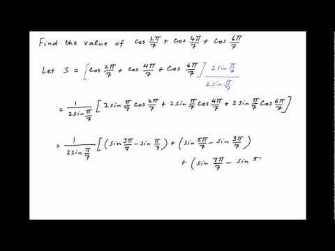 Find the value of cos (2*PI/7) + cos (4*PI/7) + cos (6*PI/7).