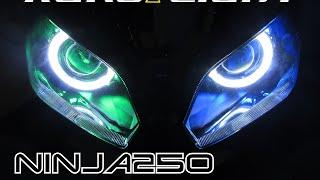 ニンジャ250(2013〜)プロジェクターヘッドライト オプションLEDリング加工