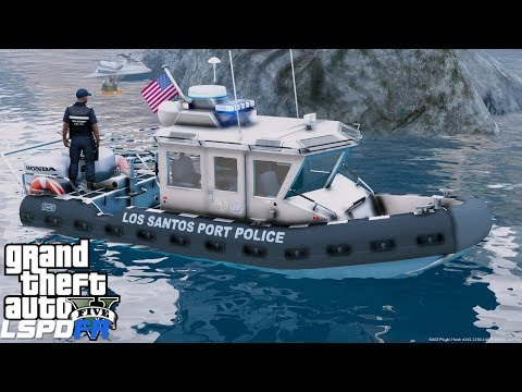 GTA 5 LSPDFR Coastal Callouts - Port Police Defender Class Boat - Capsized Jetski & Life Ring Rescue