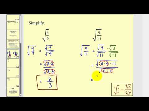 Simplifying Radical Expressions With Fractions
