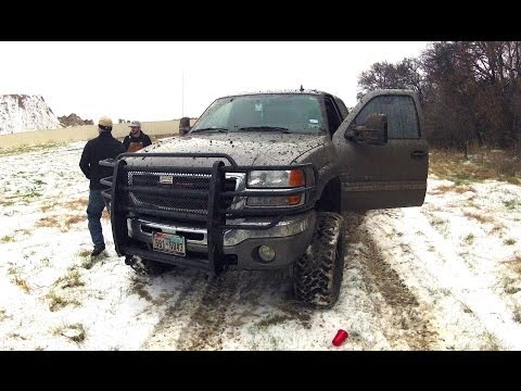 LBZ DURAMAX getting Dirty!! Donuts in a snowy field!!!