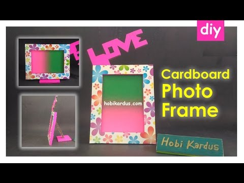 How To Make Cardboard Photo Frame with Love ❤ DIY Room Decor
