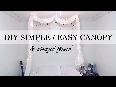 DIY - Simple No Nail Canopy / Stringed Flowers Wall Decor