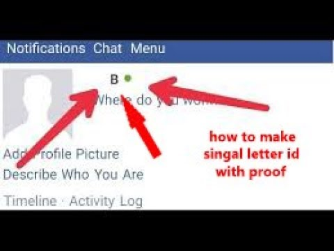 How to make single alphabet id on facebook