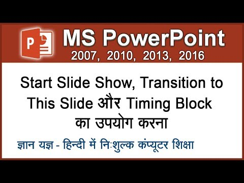 How To Run A Slideshow & Use Transitions In Slide In MS PowerPoint in Hindi- Lesson 28