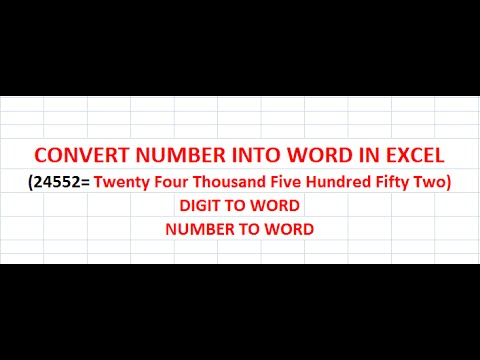 HOW TO CONVERT NUMBER INTO WORD IN EXCEL