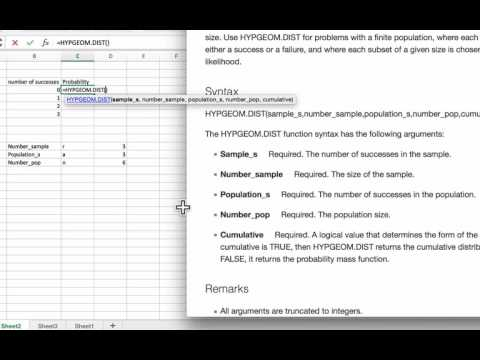 Hypergeometric Distributions Using Excel