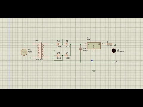 how to make a simple power supply circuit with simulation in Proteus.