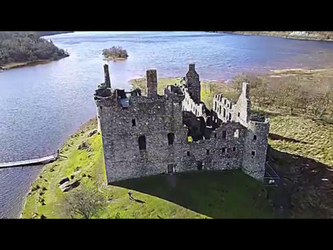Epic drone flight over Kilchurn Castle and Loch Awe, Scotland