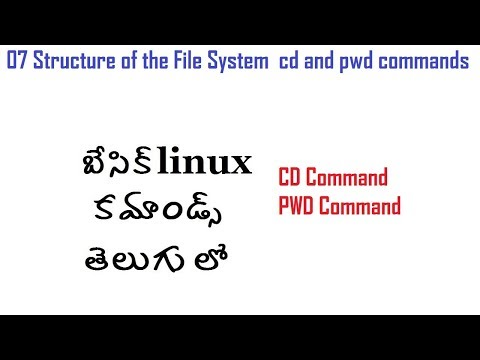07 Structure of the File System  cd and pwd commands linux In Telugu