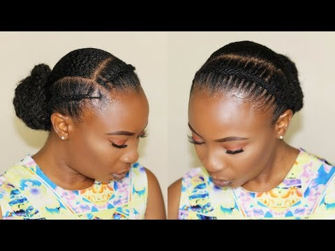 HOW TO |AFRICAN THREADING FLAT TWIST | LOW BUN HAIRSTYLE  FOR SHORT NATURAL HAIR