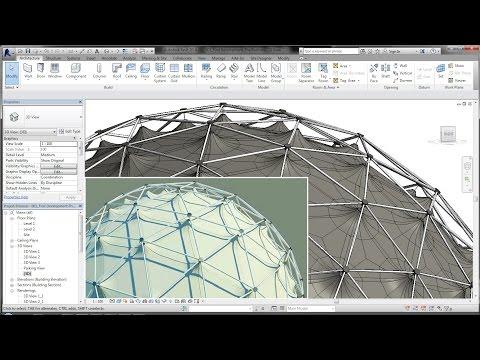 BIM - Revit Adaptive Component 03B Geodesic Dome Steel l Fabric l Tent Structure