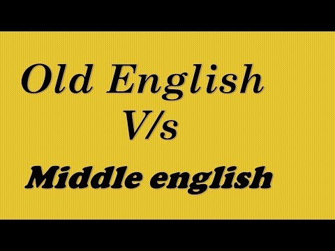 Old English And Middle English