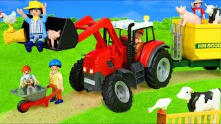 Tractor and Animals Play on the Toy Farm with Kids Songs